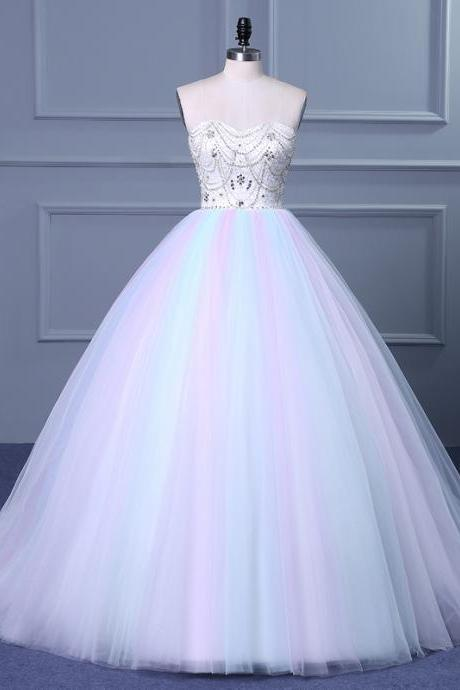 Cheap wedding dresses ,Strapless Sweetheart Colorful Wedding Gown with Sweep Train wedding dress