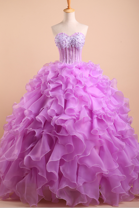 Charming Prom Dress,Sexy Prom Dresses,Sweetheart Floor-length Quinceañera Dress with Ruffled Layers