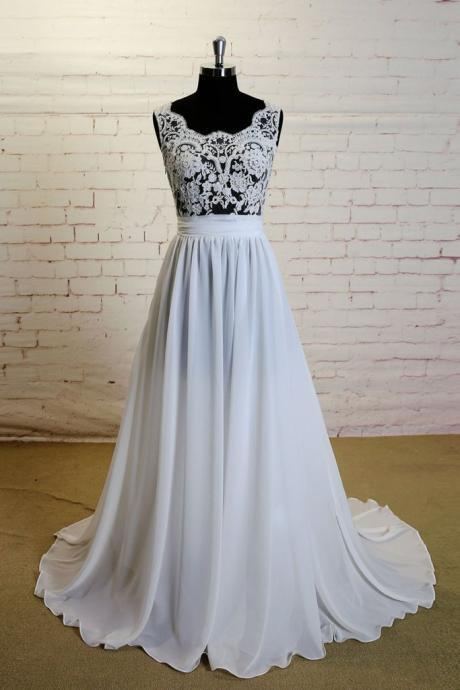 Lace wedding dresses ,white a-line lace chiffon long prom dress, lace wedding dress