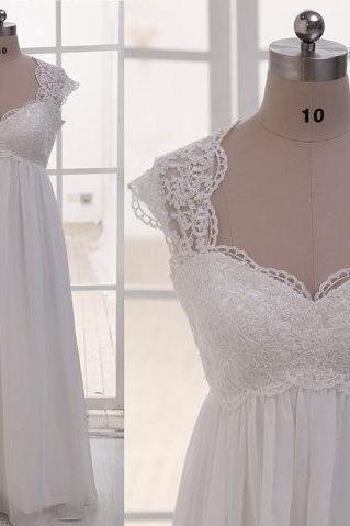 Cap Sleeves Lace Empire Waist Chiffon Wedding Dress, Maternity Wedding Dress, Beach Wedding Gown