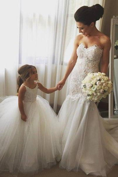 Lace Appliqués Sweetheart Floor Length Tulle Mermaid Wedding Dress Featuring Train