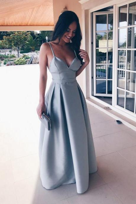 Classic A-Line Long Prom Dress in Sky Blue dresses