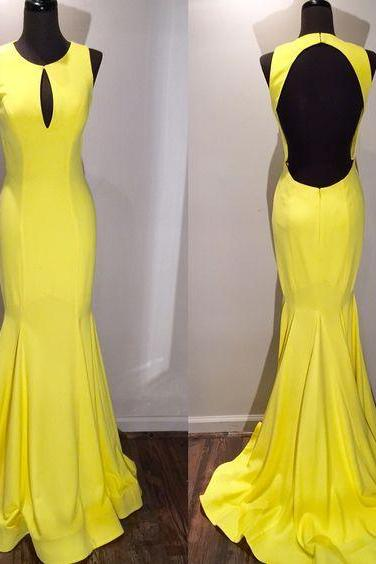 Prom Dress,Sexy Prom Dress, Yellow Prom Dresses,Vintage Yellow Evening,Prom Dress,mermaid evening gowns