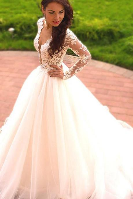 Plunging V Lace Appliqués Ball Gown Wedding Dress with Long Sleeves