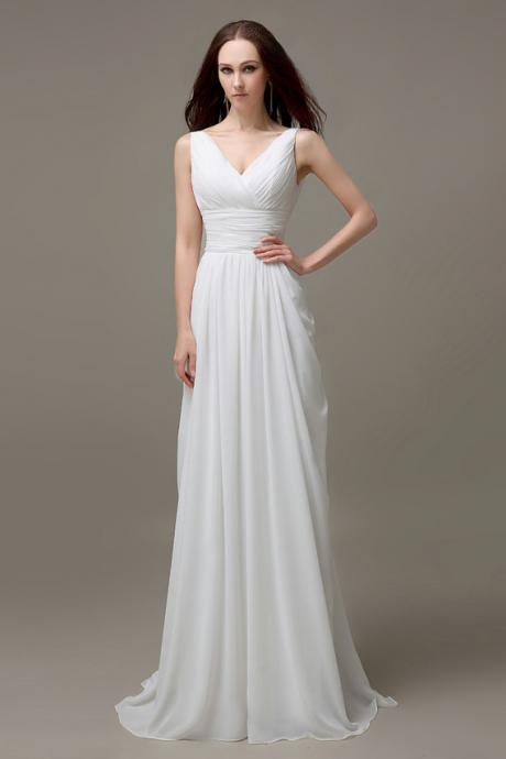Chiffon Ruched Plunge V Sleeveless Floor Length A-Line Wedding Dress Featuring Plunge V Back, Beach Wedding Dress