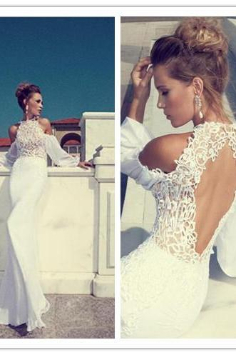 Wedding Dress, Sexy Wedding Dress, Halter Wedding Dress, Chiffon Wedding Dress, Long Sleeve Wedding Dress, New Arrival Wedding Dress, Open Back Wedding Dress, Mermaid Wedding Dress, Lace Bridal Gown