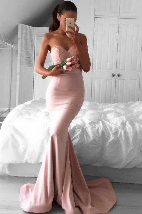 Pink Sweetheart Prom Dress,Mermaid Prom Dresses,Long Evening Dresses,Prom Dress ,Modest Prom Gowns,Floor Length Prom Dress,Women Dresses,Special Occasion Dress,Sleeveless Evening Dress