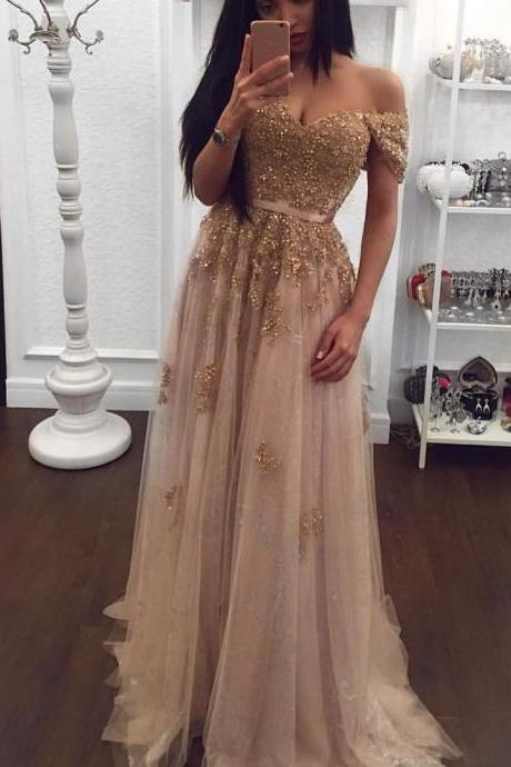 Charmpagne Prom Dress,A-line Prom Dresses,Sparkly Evening Dresses,Prom Dress ,Modest Prom Gowns,Floor Length Prom Dress,Women Dresses,Special Occasion Dress,Cap Sleeve Evening Dress,