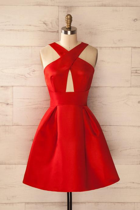 Charming Prom Dress,Red Prom Dress,Satin Prom Dress,Fashion Homecoming Dress,Sexy Party Dress, New Style Evening Dress