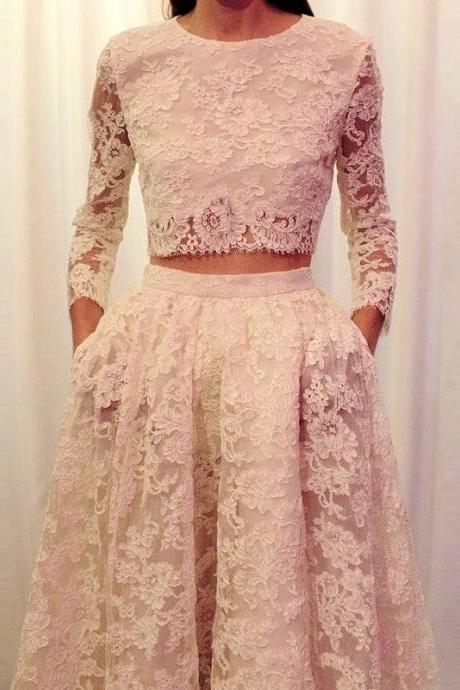 Faisata Illusion Neckline Two Piece Wedding Dress Boho Lace Long Sleeve Bridal Dress