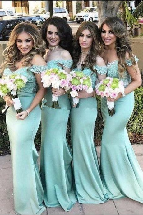 Mint Green Bridesmaid Dresses,Off The Shoulder wedding Guest Dress,Mermaid Bridesmaids Dresses
