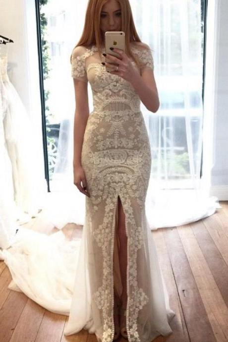 Wedding Dress,Custom Charming White Lace Wedding Dresses,Sexy Side Slit Bridal Gown,Short Sleeves Wedding Dress, Bridesmaid Dresses, Graduation Dress,Wedding Guest Dress