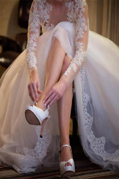 Charming Wedding Gown,Long Sleeve Wedding Dresses,Sexy See Through Wedding Party Dresses,Lace Wedding Dress,