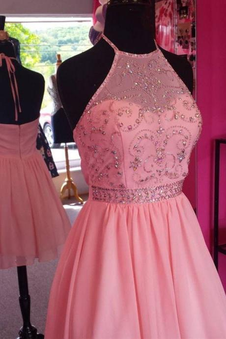 Homecoming dresses ,Soft Chiffon Halter Homecoming Dress Stunning Beading Lovely Pink Short Prom Dresses Knee Length Party Gowns for School Girls