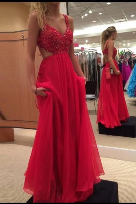Sexy Prom Dresses,Red Prom Dress,Chiffon Backless Evening Gown,Long Formal Dress,Beaded Prom Gowns,Open Backs Night Club Dresses