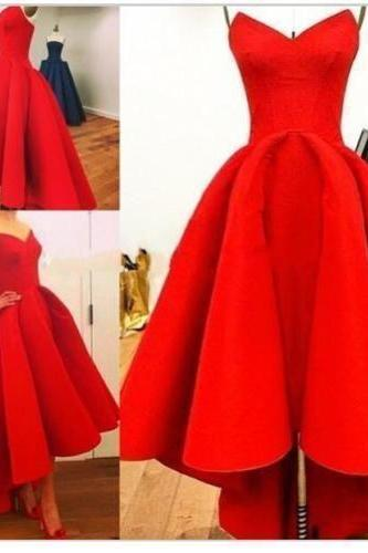 High Low Prom Dresses,Chiffon Prom Dress,Red Prom Gown,Vintage Prom Gowns,Elegant Evening Dress,Cheap Evening Gowns,Simple Party Gowns,Modest Prom Dress