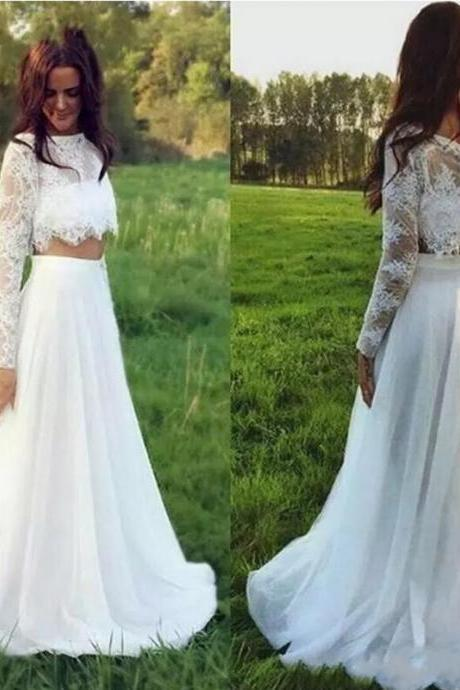 Wedding Dresses,New Bohemian Lace Beach Wedding Dresses Scoop Neck Long Sleeve Summer Garden Long Chiffon Wedding Brida Dress Floor Length