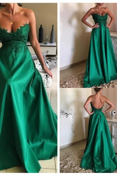 Prom Dress Sleeveless Emerald Green Formal Occasion Dress