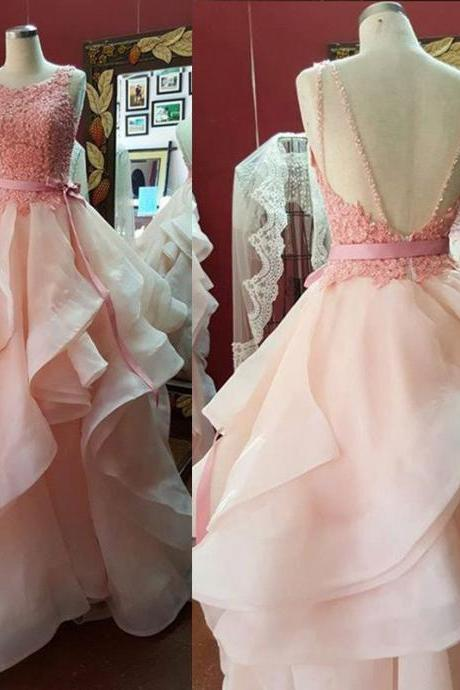 Prom Dresses,Princess Prom Dress,Ball Gown Prom Gown,Pink Prom Gown,Elegant Evening Dress,Evening Gowns,Party Gowns With Lace
