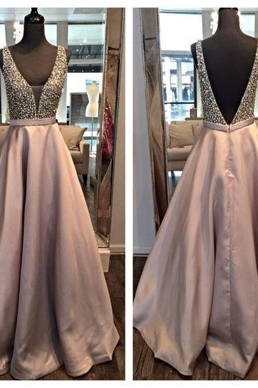 Custom V neck Beaded Champagne Prom Dresses, Satin Prom Dress, Long Sexy Prom Dress, Prom Dress , Affordable Prom Dress, Junior Prom Dress,Formal Evening Dresses Gowns, Party Dresses, Plus size