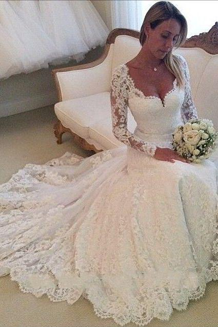 Vestido De Noiva Sereia, Lace Wedding Dress, Long Sleeve Mermaid Lace Wedding Dress Sheer Back, Bride Dresses, Vestido De Noiva Manga Longa, White/Ivory Lace Wedding Dresses