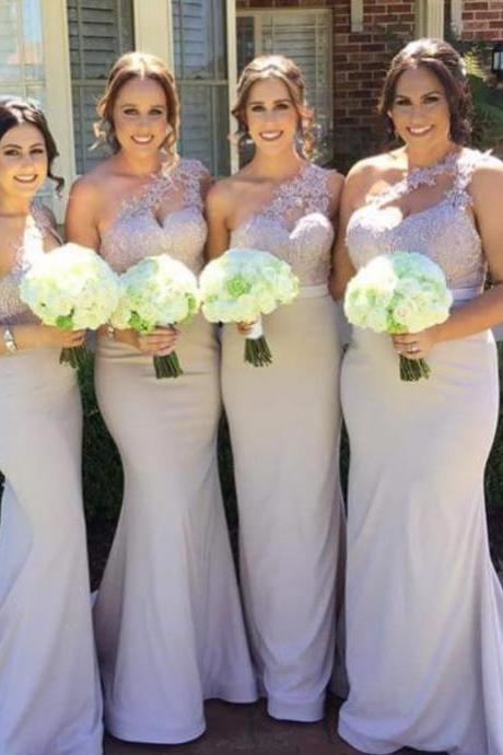 Elegant One Shoulder Bridesmaid Dress,Mermaid Long Bridesmaid Dresses with Train