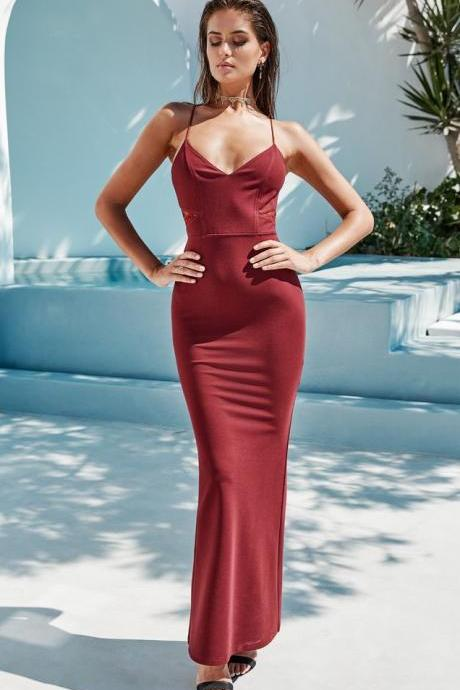 Burgundy Prom Dress,Sexy Spaghetti Straps Prom Dresses, Prom Dress ,See Through Back Evening Dress, Lace Mermaid Prom Dress, Criss Cross Back Prom Dress