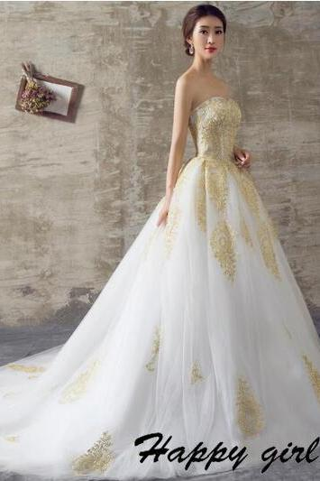 Gold Lace Appliques Strapless Straight Across Floor Length Tulle Wedding Gown Featuring Train