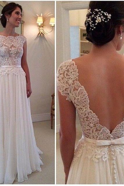 Wedding Dresses, Backless Wedding Dresses, Elegant Wedding Dresses , Lace Wedding Gown , Ivory A-line Wedding Gowns ,Chiffon Bridal Dresses
