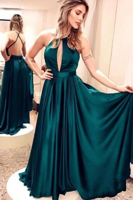 Emerald Green Prom Dress,Satin Long Prom Dresses ,A-Line Evening Dresses Simple Backless Prom Dresses Party Dresses