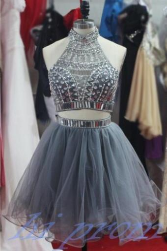 Gray Homecoming Dress,2 Piece Homecoming Dresses,Silver Beading Homecoming Gowns,Short Prom Gown,Pink Sweet 16 Dress,Grey Homecoming Dress,2 pieces Cocktail Dress,Two Pieces Evening Gowns