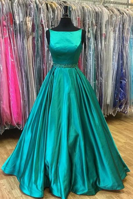 A-Line Beadings Green Sleeveless Stunning Prom Dress