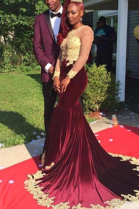 Gorgeous Appliques Burgundy Prom Dress,Evening Dresses Long Sleeve Velvet Prom Dresses