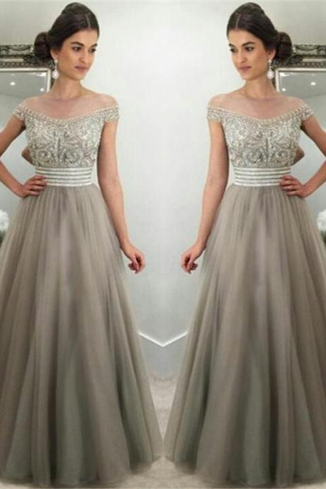 Off The Shoulder Prom Dress,.Crystals Prom Dresses,Silver Grey Tulle Prom Dress,Gorgeous Evening Gown