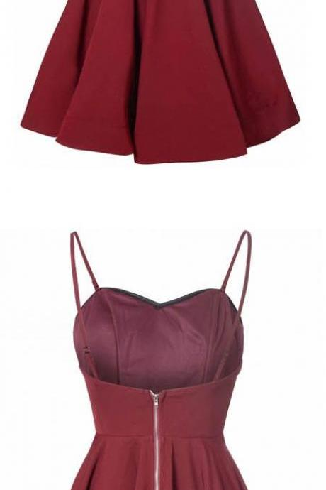 Burgundy Sweetheart Spaghetti Straps Short Ruffled Skater Homecoming Dress
