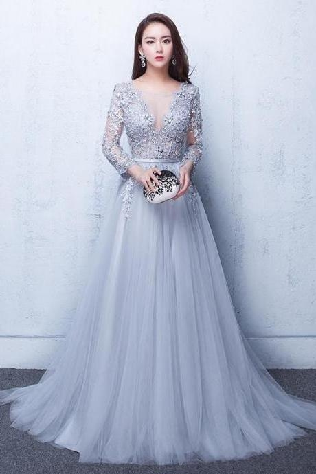 Gray Tulle Prom Dresses,Lace Prom Dress