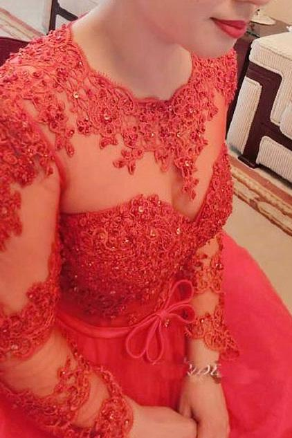 Elegant Red Prom Dress,Long Sleeve Prom Dress,Long Prom Dress,Appliques and Lace Prom Dresses,Formal Prom Dress