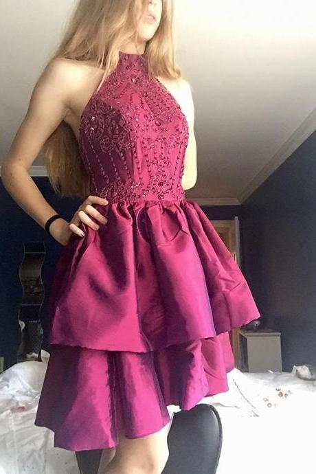 High Collar Homecoming Dresses, Ruffled Fuchsia Knee Length Homecoming Dresses,Beaded Party Dresses for Junior