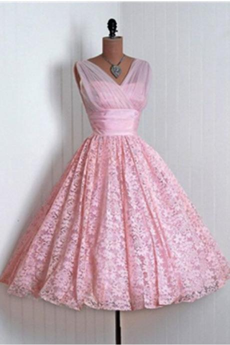 Pink Lace A-line Homecoming Dresses,Vintage Dresses,Graduation Dresses,Cheap Dresses,Cute Dresses,Short Prom Dresses