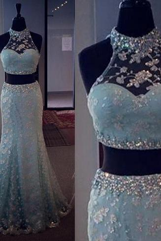 Blue Prom Dresses, Beautiful Prom Dress, Two Piece Prom Dress, Lace Prom Dress, Sleeveless Prom Dress, Elegant Prom Dress