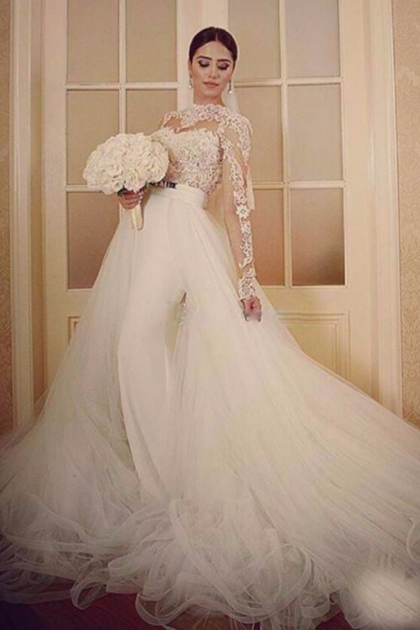 Wedding Dress, Detachable Skirt Wedding Dresses, Long Sleeve Wedding Dress, Elegant Wedding Dress, Mermaid Wedding Dress, Cheap Bridal Dresses, Wedding Dresses, White Wedding Dress, Vestido De Novia