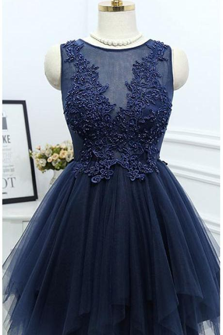 Short Homecoming Dress,Applique Homecoming Dresses,Charming Prom Dress,Navy Blue Tulle Prom Dresses,Elegant Prom Dress,Beaded Prom Gown