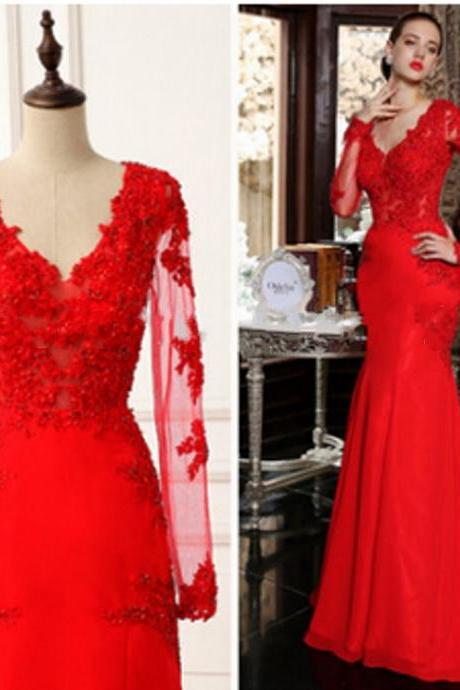 Custom Made Long Sleeves Prom Dresses , Party Dresses , Formal Dresses , Evening Dresses ,Lace Bodice Prom Gowns