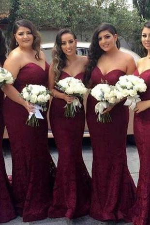 Burgundy Bridesmaid Dresses,Mermaid Wine Red Bridesmaid Dress,Maid of Honor Dress Sweetheart Bridesmaid Dress,Plus Size Bridesmaid Dresses, Wedding Guest Party Dresses Formal Party Gowns
