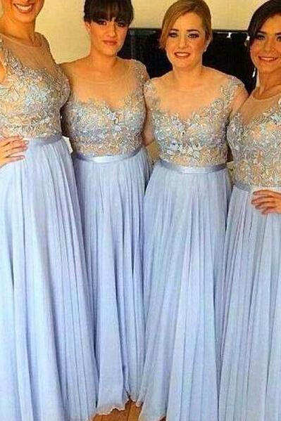 Blue New Bridesmaid Dresses,A Line Bridesmaid Dress,Sheer Top Lace Appliques Bridesmaid Dresses,Chiffon Plus Size Bridesmaid Dress, Maid of Honor Dress, Wedding Party Dresses Wedding Guest Dress