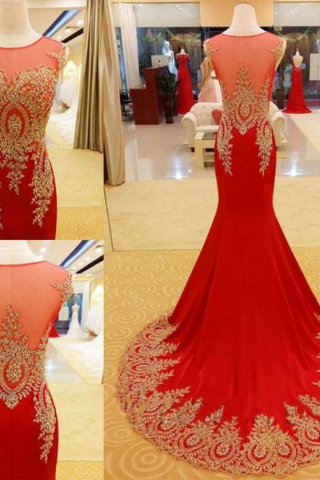 Red Prom Dress,Mermaid Prom Dress,Gold Appliques Prom Dress, Luxury Prom Dresses,Handmade Prom Dress,Long Prom Dress