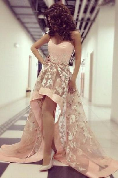 Charming Prom Dress,Strapless Prom Dress,High Low Prom Dress,Appliques Prom Dress,Tulle Prom Dress