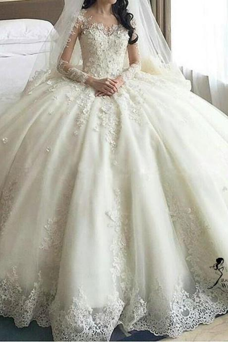 luxury wedding dresses,Women's Long Sleeve Lace wedding dresses,Ball Gown Wedding Dresses Cathedral Train