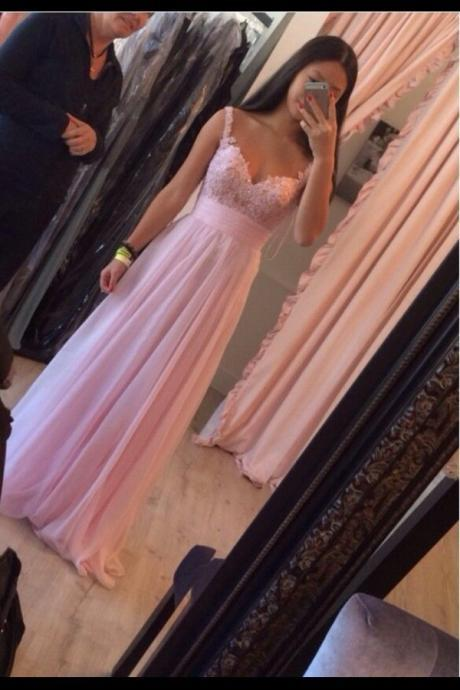 Prom Dress,Elegant Prom Dress, Handmade Prom Dress, Pink Prom Dress, Floor Length Prom Dress, Chiffon Prom Dress ,Prom Dress,Applique Prom Dress,cheap Prom Dress,custom made Prom Dress