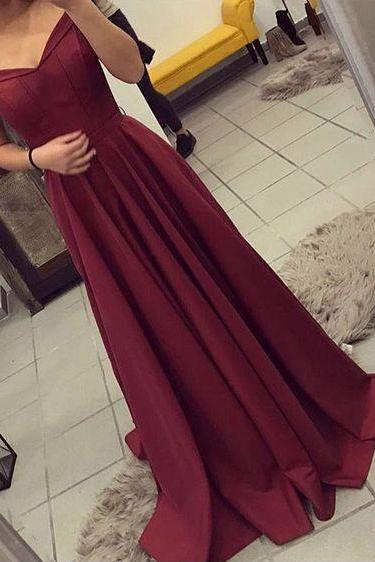 Burgundy Prom Dress, Off The Should Evening Dress